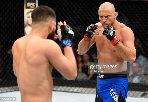 Donald Cerrone circles Jorge Masvidal in their welterweight bout during the UFC Fight Night event at the Pepsi Center on January 28 2017 in Denver...