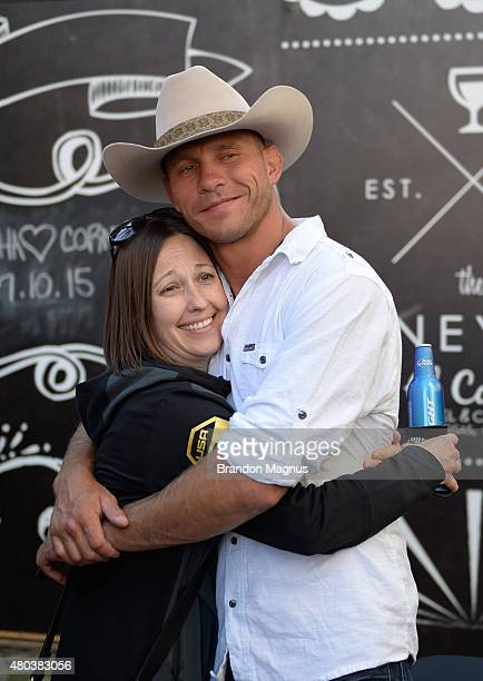 Donald Cerrone interacts with fans during UFC International Fight Week preconcert party at the El Cortez Hotel Casino on July 10 2015 in Las Vegas...