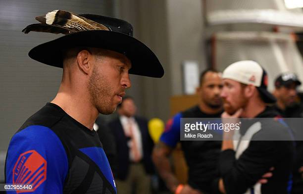 Donald Cerrone walks around backstage during the UFC Fight Night event at the Pepsi Center on January 28 2017 in Denver Colorado
