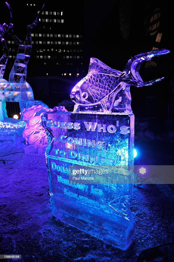 Donald Chapelle of Brilliant Ice sculpture's 'Guess Who's COming to Dinner' at First Night Boston 2013 on December 31, 2012 in Boston, Massachusetts.