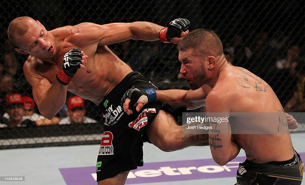 Donald 'Cowboy' Cerrone kicks Jeremy Stephens in a lightweight bout during the UFC on Fuel TV event at Patriot Center on May 15, 2012 in Fairfax, Virginia.