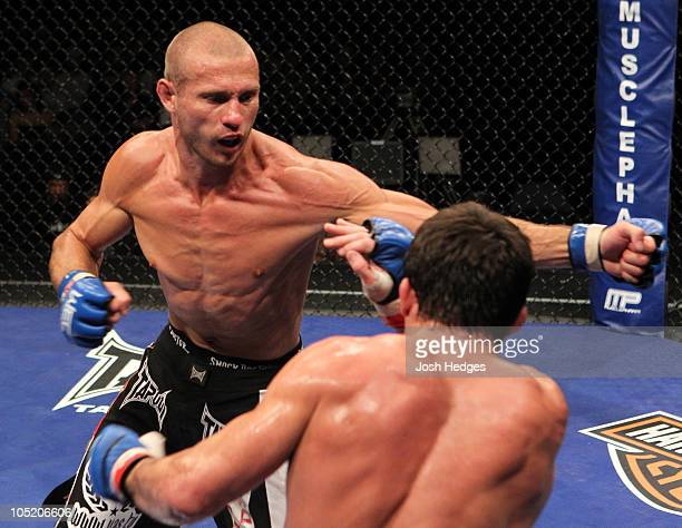 Donald 'Cowboy' Cerrone punches Jamie Varner at WEC 51 at the 1stBank Center on September 30 2010 in Broomfield Colorado