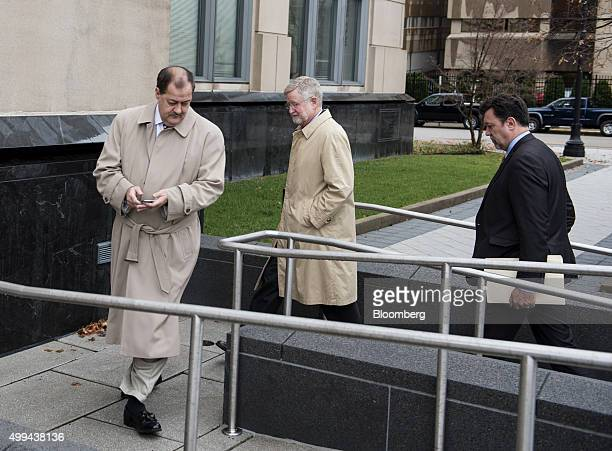 Donald 'Don' Blankenship former chief executive officer of Massey Energy Co left and his attorney Bill Taylor center arrive at the Robert C Byrd US...
