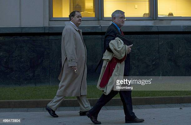 Donald 'Don' Blankenship former chief executive officer of Massey Energy Co left and his attorney Bill Taylor leave the Robert C Byrd US Courthouse...