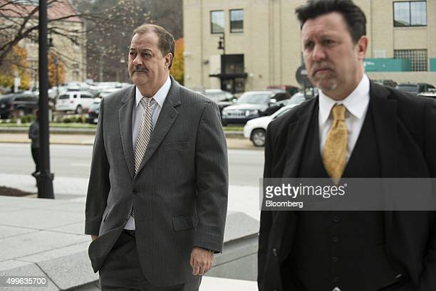 Donald 'Don' Blankenship former chief executive officer of Massey Energy Co left and one of his attorneys Alex Macia arrive at the Robert C Byrd US...