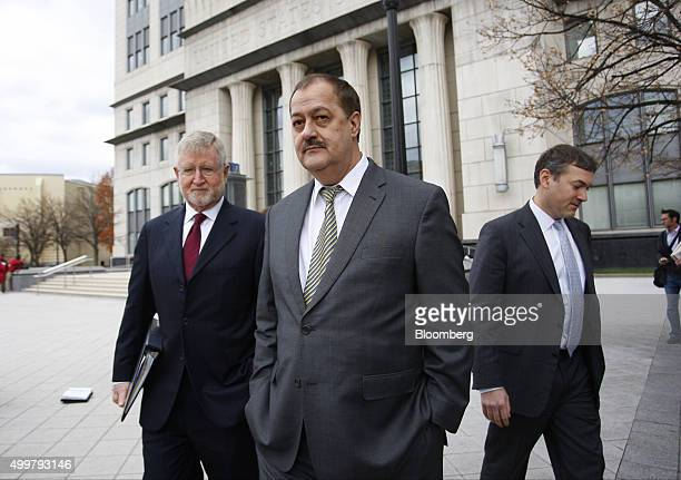 Donald 'Don' Blankenship former chief executive officer of Massey Energy Co center and his attorney Bill Taylor left exit the Robert C Byrd US...