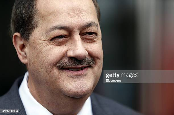 Donald 'Don' Blankenship former chief executive officer of Massey Energy Co smiles as he exits the Robert C Byrd US Courthouse in Charleston West...