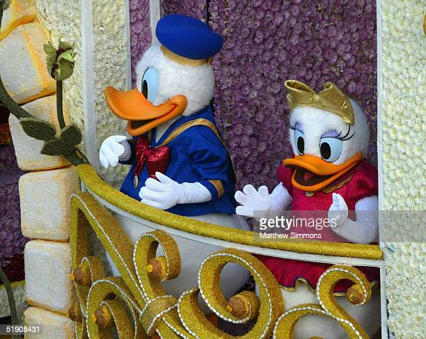 Donald Duck and Daisy Duck ride Disneyland Park's float 'The Happiest Celebration on Earth' in the 116th Tournament Of Roses Parade on January 1 2005...
