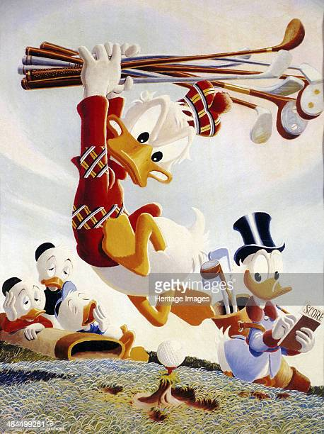 Donald Duck wielding golf clubs American c1950s