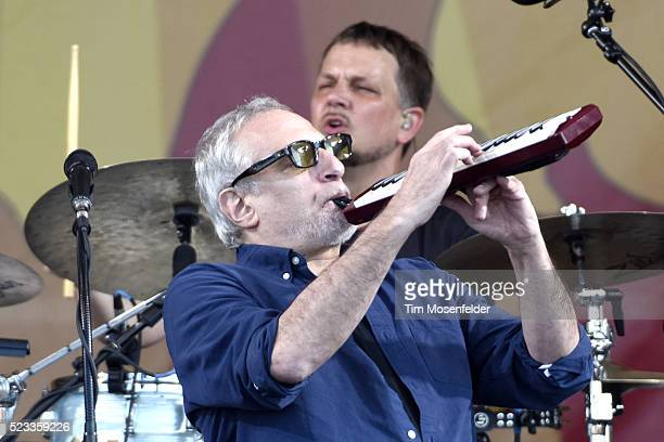 Donald Fagen of Steely Dan performs during the 2016 New Orleans Jazz Heritage Festival at Fair Grounds Race Course on April 22 2016 in New Orleans...