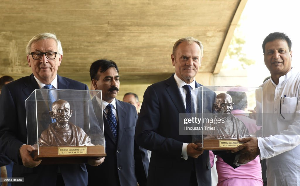 Donald Franciszek Tusk, President of the European Council, & Jean-Claude Juncker, President of the European Commission to India, after laying the wreath at Memorial of Mahatma Gandhi at Rajghat on October 6, 2017 in New Delhi, India.