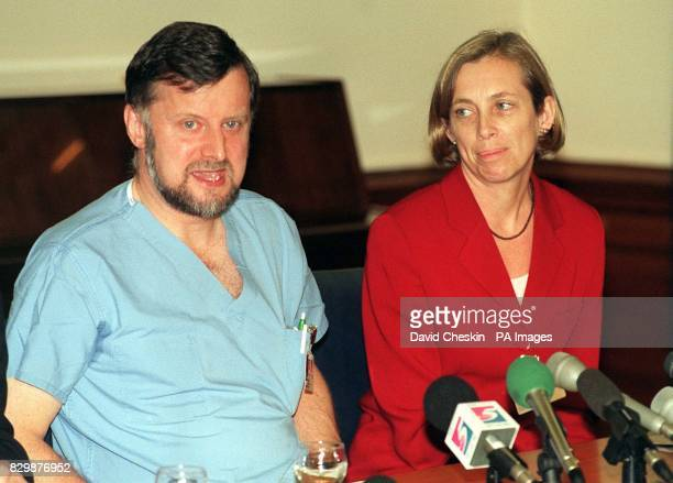 Donald Gibb consultant obstetrician at King's College Hospital southwest London and Cathy Warwick Director of Midwifery speaking at a news conference...