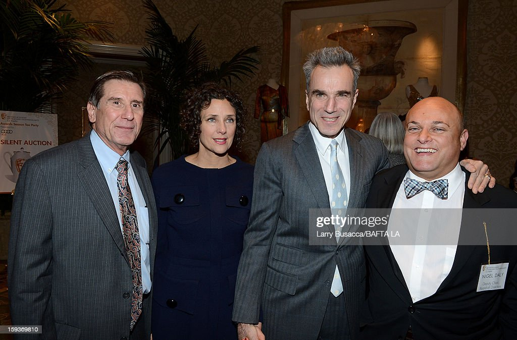 Donald Haber, Executive Director and COO, BAFTA, Rebecca Miller, actor Daniel Day-Lewis and Nigel Daly, Deputy Chair, Board of Directors, BAFTA attend the BAFTA Los Angeles 2013 Awards Season Tea Party held at the Four Seasons Hotel Los Angeles on January 12, 2013 in Los Angeles, California.