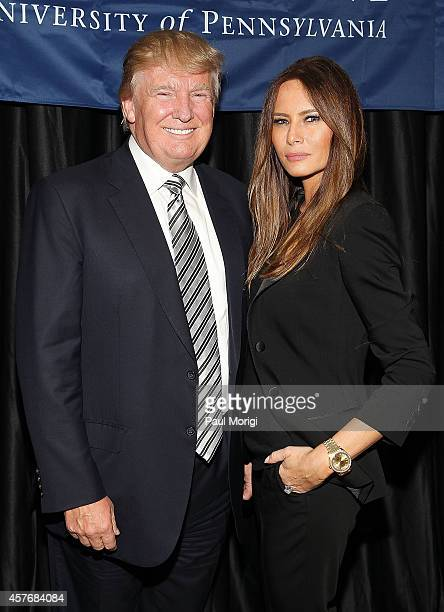 Donald J Trump Chairman President The Trump Organization and his wife Melania Trump attend The Wharton Club's 44th Annual Wharton Award Dinner at the...