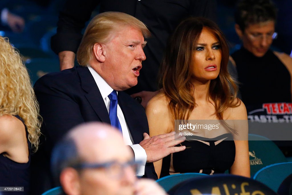 Donald J Trump Chairman President The Trump Organization and his wife Melania Trump watch Vasyl Lomachenko take on Gamalier Rodriguez in their WBO...