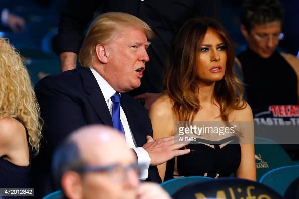 Donald J Trump Chairman President The Trump Organization and his wife Melania Trump watch Vasyl Lomachenko take on Gamalier Rodriguez in their WBO...