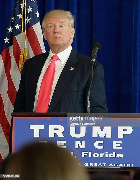 Donald J Trump holds a press conference at Trump National Doral on July 27 2016 in Doral Florida