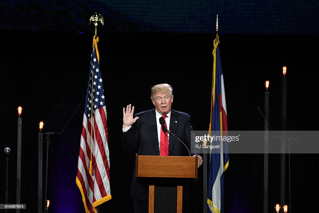 Donald J. Trump, the presumptive Republican presidential candidate headlines the 2016 Western Conservative Summit at the Colorado Convention Center in Denver, July 01, 2016. It is the 7th annual Western Conservative Summit.