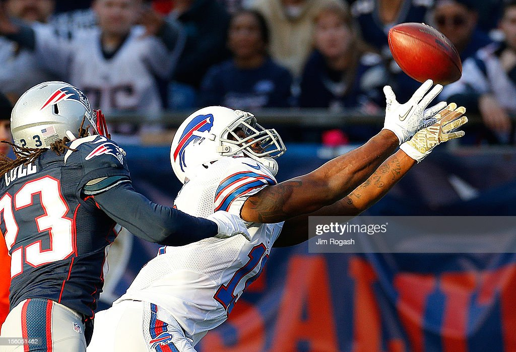 Donald Jones #19 of the Buffalo Bills comes up short on a pass as Marquice Cole #23 of the New England Patriots defends in the second half at Gillette Stadium on November 11, 2012 in Foxboro, Massachusetts.