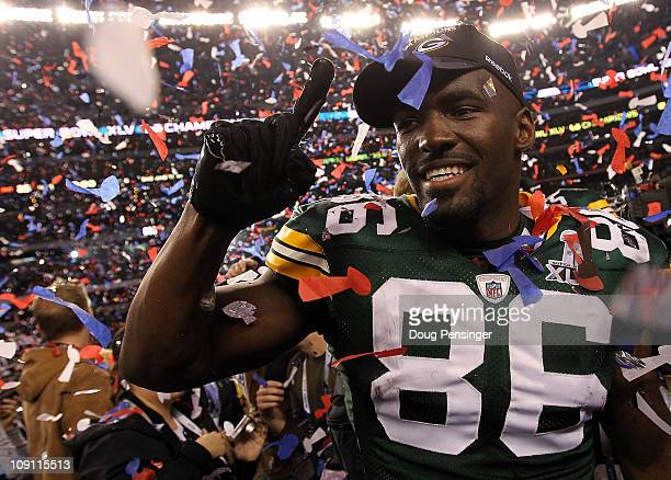 Donald Lee of the Green Bay Packers celebrates after they defeated the Pittsburgh Steelers 31 to 25 during Super Bowl XLV at Cowboys Stadium on...