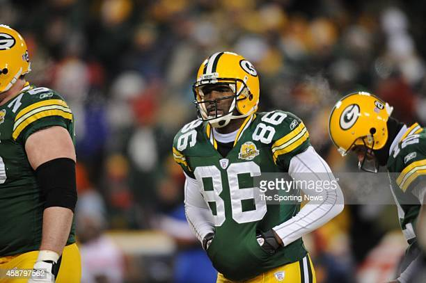 Donald Lee of the Green Bay Packers looks on during a game against the New York Giants on January 20 2008 at Lambeau Field in Green Bay Wisconsin