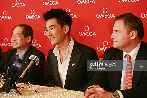 Donald Lee Richie Jen and Gregory Swift during Omega Watch Event With Richie Jen at C H Premiere Jewelers in Santa Clara California United States