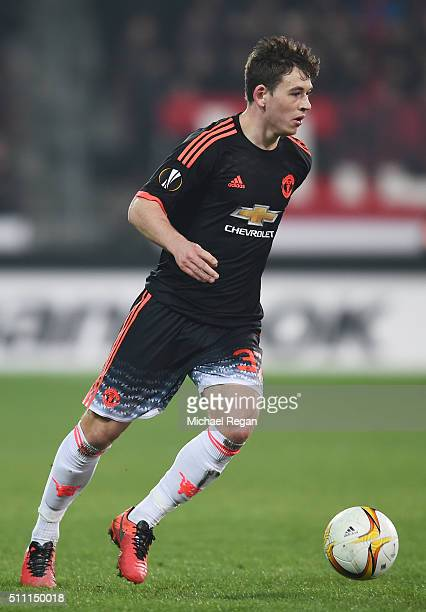Donald Love of Manchester United in action during the UEFA Europa League round of 32 first leg match between FC Midtjylland and Manchester United at...