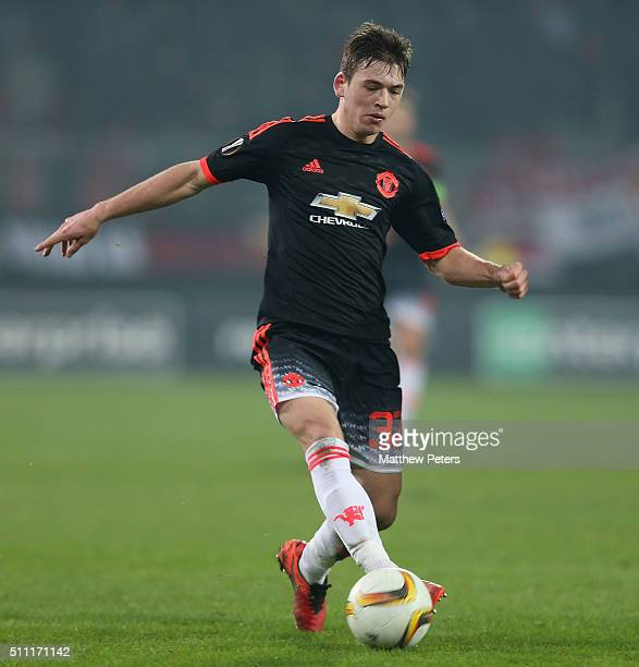 Donald Love of Manchester United in action during the UEFA Europe League match between FC Midtjylland and Manchester United on February 18 2016 at...