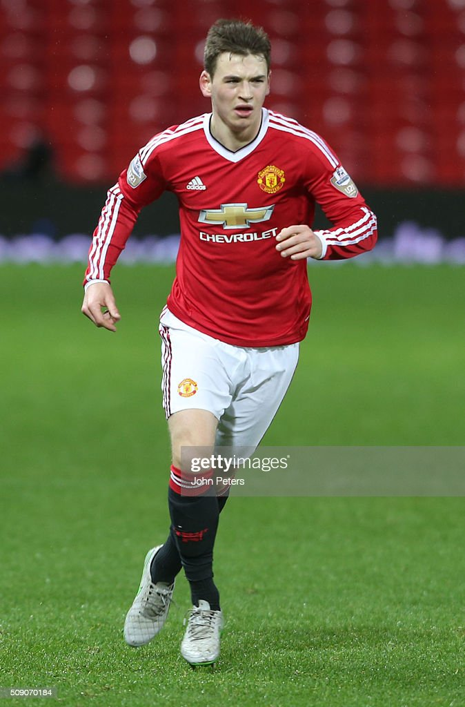 Donald Love of Manchester United U21s in action during the U21 Premier League match between Manchester United U21s and Norwich City U21s at Old Trafford on February 8, 2016 in Manchester, England.