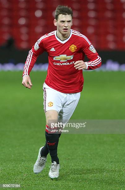 Donald Love of Manchester United U21s in action during the U21 Premier League match between Manchester United U21s and Norwich City U21s at Old...