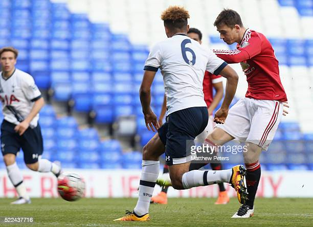 Donald Love of Manchester United U21s scores their first goal during the Barclays U21 Premier League match between Tottenham Hotspur U21s and...
