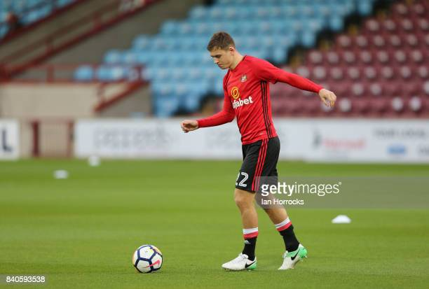 Donald Love of Sunderland warming up before the Checkertrade Trophy group stage match at Glanford Park on August 29 2017 in Scunthorpe England