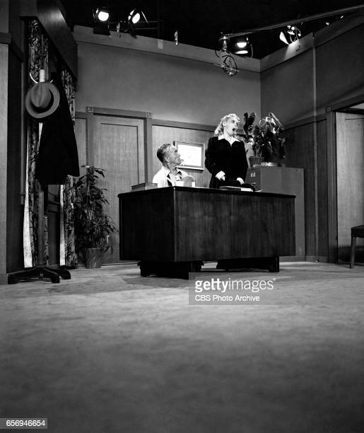 Donald MacBride and Marie Wilson on the CBS television comedy program 'My Friend Irma' during the first program broadcast from CBS Television City...