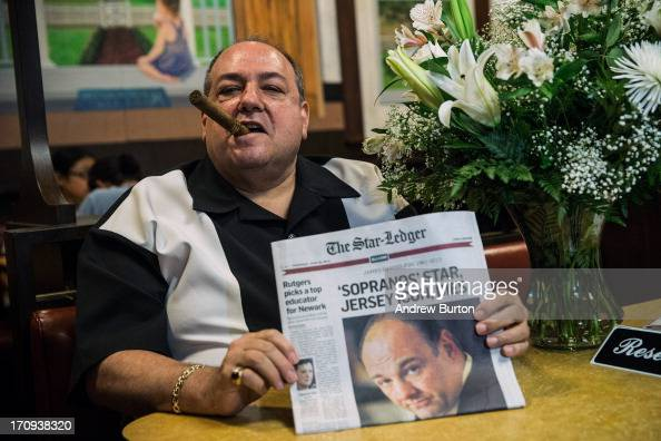 Donald Metzger a James Gandolfini and Tony Soprano impersonator poses for a photo at the booth where the final scene of the final episode of the HBO...