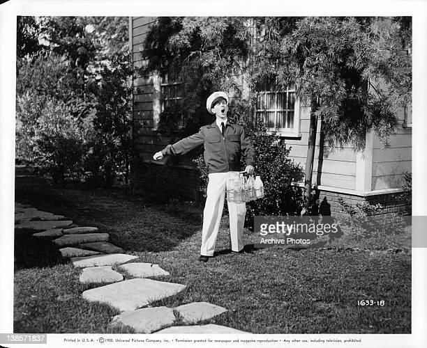 Donald O'Connor make his debut as a milkman in a scene from the film 'Milkman' 1950