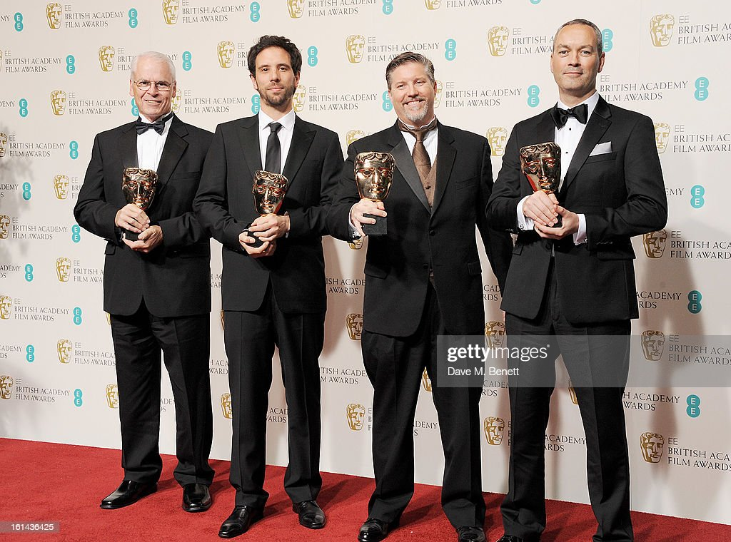 Donald R. Elliott, Guillaume Rocheron, Bill Westenhofer and Erik-Jan De Boer, winners of the Special Visual Effects award, pose in the Press Room at the EE British Academy Film Awards at The Royal Opera House on February 10, 2013 in London, England.