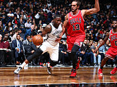 Donald Sloan of the Brooklyn Nets drives against Joakim Noah of the Chicago Bulls on October 28 2015 at Barclays Center in Brooklyn New York NOTE TO...