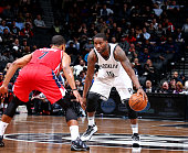 Donald Sloan of the Brooklyn Nets handles the ball against the Washington Wizards on April 11 2016 at Barclays Center in Brooklyn New York NOTE TO...