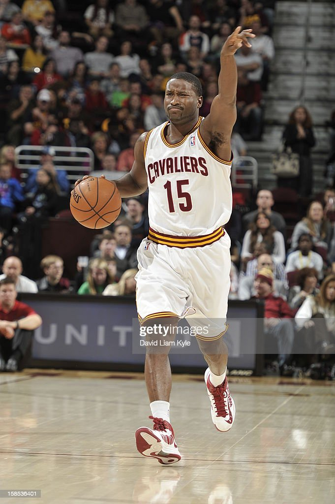 <a gi-track='captionPersonalityLinkClicked' href=/galleries/search?phrase=Donald+Sloan&family=editorial&specificpeople=4185817 ng-click='$event.stopPropagation()'>Donald Sloan</a> #15 of the Cleveland Cavaliers brings the ball up court against the Portland Trail Blazers at The Quicken Loans Arena on December 1, 2012 in Cleveland, Ohio.