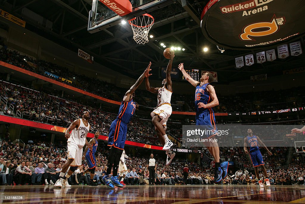 <a gi-track='captionPersonalityLinkClicked' href=/galleries/search?phrase=Donald+Sloan&family=editorial&specificpeople=4185817 ng-click='$event.stopPropagation()'>Donald Sloan</a> #15 of the Cleveland Cavaliers goes up for the shot against Amare Stoudemire #1 and <a gi-track='captionPersonalityLinkClicked' href=/galleries/search?phrase=Steve+Novak&family=editorial&specificpeople=693015 ng-click='$event.stopPropagation()'>Steve Novak</a> #16 of the New York Knicks at The Quicken Loans Arena on April 20, 2012 in Cleveland, Ohio.
