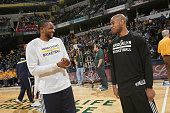 Donald Sloan of the Indiana Pacers and Jarrett Jack of the Brooklyn Nets before the game on March 21 2015 at Bankers Life Fieldhouse in Indianapolis...