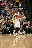 Donald Sloan of the Indiana Pacers celebrates during a game against the Minnesota Timberwolves at Bankers Life Fieldhouse on October 7 2014 in...