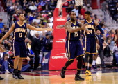 Donald Sloan of the Indiana Pacers complains about not getting a foul call during the first half against the Washington Wizards at Verizon Center on...
