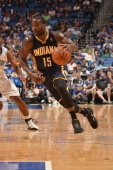Donald Sloan of the Indiana Pacers drives against the Orlando Magic on April 16 2014 at Amway Center in Orlando Florida NOTE TO USER User expressly...