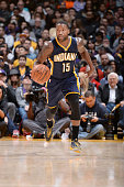 Donald Sloan of the Indiana Pacers drives down the court against the Los Angeles Lakers during the game on January 4 2015 at STAPLES CENTER in Los...