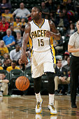 Donald Sloan of the Indiana Pacers handles the ball against the Orlando Magic at Bankers Life Fieldhouse on October 10 2014 in Indianapolis Indiana...