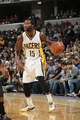 Donald Sloan of the Indiana Pacers handles the ball against the Washington Wizards on November 8 2014 at Bankers Life Fieldhouse in Indianapolis...