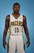 Donald Sloan of the Indiana Pacers poses for a head shot during media day at Bankers Life Fieldhouse on September 27 2013 in Indianapolis Indiana...