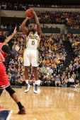 Donald Sloan of the Indiana Pacers shoots against the Chicago Bulls at Bankers Life Fieldhouse on November 6 2013 in Indianapolis Indiana NOTE TO...