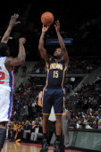 Donald Sloan of the Indiana Pacers shoots against the Detroit Pistons on November 5 2013 at The Palace of Auburn Hills in Auburn Hills Michigan NOTE...